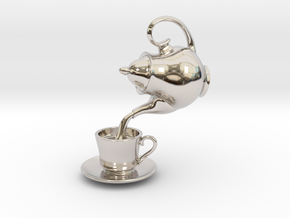 Teapot and Cup Pendant in Platinum
