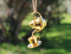Teapot and Cup Pendant in Polished Brass