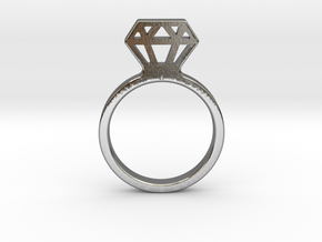 Diamond ring Ginetta in Polished Silver: Small