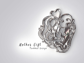 Mother Gift Pendant in Rhodium Plated Brass