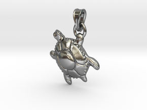 Sea Turtle Pendant in Polished Silver (Interlocking Parts)
