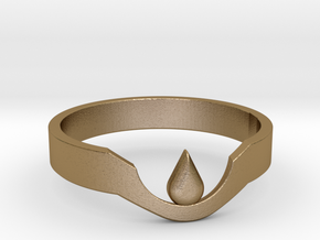 Suspended Teardrop Ring in Polished Gold Steel