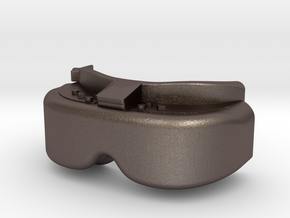 FPV Goggles Keychain in Polished Bronzed Silver Steel: Small