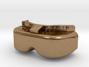 FPV Goggles Keychain in Natural Brass: Small