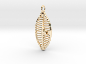 Planothidium Diatom pendant - Science Jewelry in 14k Gold Plated Brass