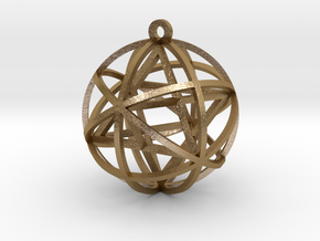 "Planetary Mekaba Pendant 1"" in Polished Gold Steel"