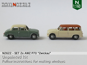 SET 2x AWZ P70 Zwickau (N 1:160) in Smooth Fine Detail Plastic