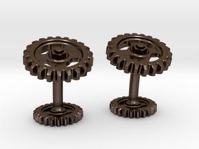Gear Cog Cufflinks in Polished Bronze Steel