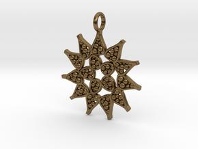 Pediastrum Algae pendant - Science Jewelry in Natural Bronze