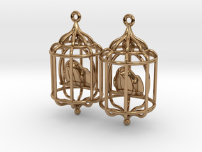 Bird in a Cage 02 in Polished Brass (Interlocking Parts)