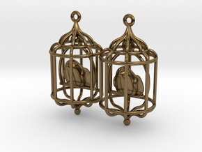 Bird in a Cage 02 in Polished Bronze (Interlocking Parts)