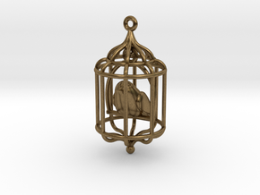 Bird in a Cage Pendant 02 in Natural Bronze (Interlocking Parts)