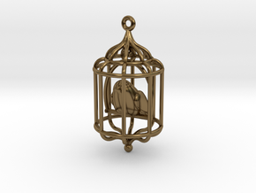 Bird in a Cage Pendant 02 in Polished Bronze (Interlocking Parts)