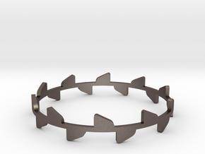 Bracelet Rose x2 in Polished Bronzed Silver Steel