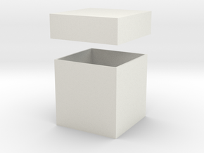 Gift Box & Lid - 50mm in White Natural Versatile Plastic