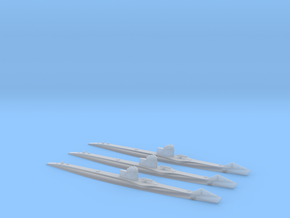 Submarine Type UBIII of WW1 Three Pack in Smooth Fine Detail Plastic: 1:700