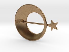 Eclipse With Shooting Star Brooch in Natural Brass (Interlocking Parts)