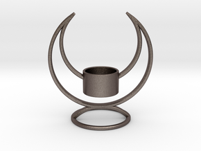Candle Holder - 3D printed Candleholder in Polished Bronzed Silver Steel