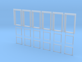1:32 Single Pane Double Hung Assembly Set of 6 in Smooth Fine Detail Plastic