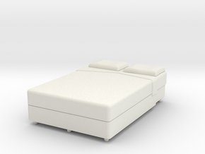 Double Bed O Scale in White Natural Versatile Plastic