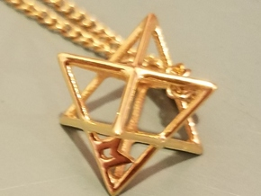 MILOSAURUS Tetrahedral 3D Star of David Pendant in 14k Gold Plated Brass