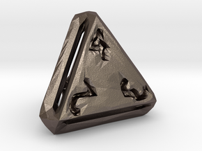 Rough Poly D4 in Polished Bronzed Silver Steel