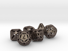 Rough Poly Dice Set NO D00 in Polished Bronzed Silver Steel