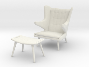 Wegner AP-19 Chair w/ Ottoman aka Papa Bear in White Natural Versatile Plastic: 1:48