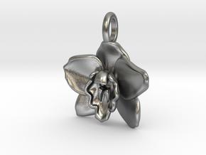 Cymbidium Boat Orchid Pendant in Natural Silver