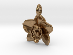 Cymbidium Boat Orchid Pendant in Natural Brass