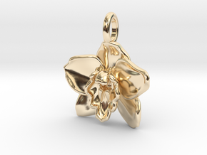 Cymbidium Boat Orchid Pendant in 14K Yellow Gold