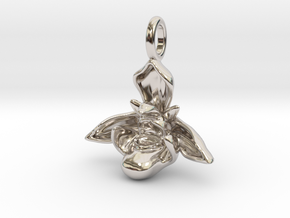 Bee Orchid Pendant - Nature Jewelry in Rhodium Plated Brass