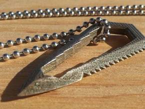 Sharktooth - Tactical Utility Pendant  in Polished Bronzed Silver Steel