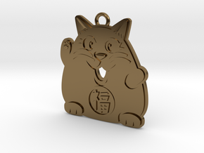 Lucky Cat Keychain in Polished Bronze