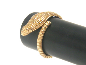 Cobra Ring US4 / Fountain Pen Roll-stopper in Polished Bronze