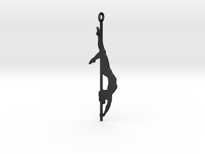 Pole dancer Keychain in Matte Black Steel