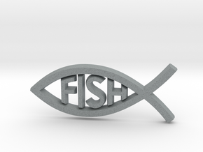 Literal Fish Emblem in Polished Metallic Plastic: Medium
