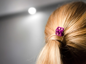 Hairpin with stylised cube. in Purple Strong & Flexible Polished