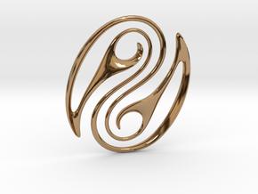 Wave Pounamu Pendant in Polished Brass