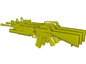 1/24 scale Colt M-16A1 & M-203 rifles x 3 in Smooth Fine Detail Plastic