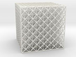 Octet Truss Cube (6x6x6) in White Natural Versatile Plastic