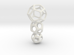 Interlocked Platonic Pendant - 3pts in White Natural Versatile Plastic