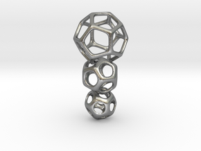 Interlocked Platonic Pendant - 3pts in Natural Silver (Interlocking Parts)