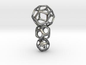 Interlocked Platonic Pendant - 3pts in Polished Silver (Interlocking Parts)