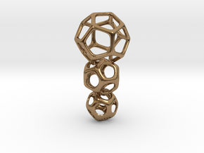 Interlocked Platonic Pendant - 3pts in Natural Brass (Interlocking Parts)