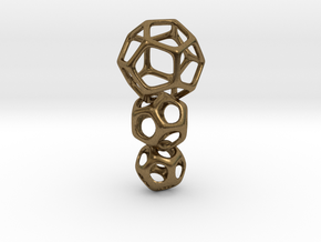 Interlocked Platonic Pendant - 3pts in Natural Bronze (Interlocking Parts)