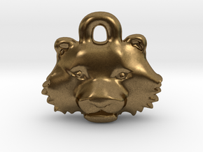 Tiger Face Pendant Charm in Natural Bronze