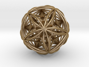 Icosasphere w/ Nested Stellated Dodecahedron in Polished Gold Steel