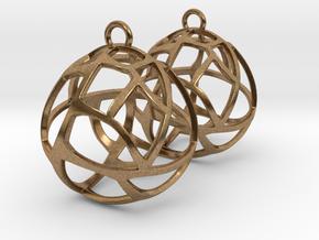 Earrings Spherical Mesh in Natural Brass