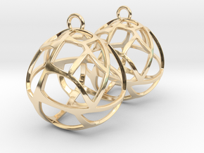 Earrings Spherical Mesh in 14k Gold Plated Brass